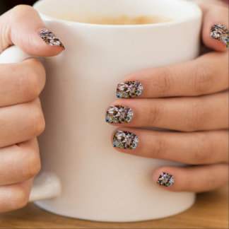 Cooles modernes beflecktes Glas-belaubtes Muster Minx Nagelkunst