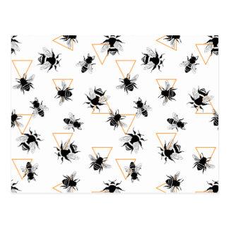 Cooles modernes Bienenkönigin-Muster Postkarte