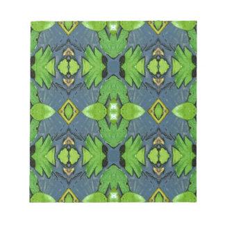 Cooles modernes blaues Grün-Stammes- Muster Notizblock
