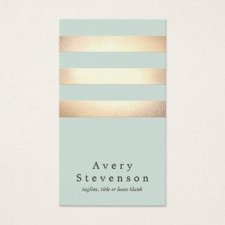 Cooles modernes Imitat-Gold und blaue Streifen Visitenkarte