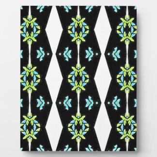 Cooles modernes Schwarz-weißes aquamarines Muster Fotoplatte