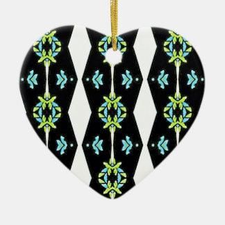 Cooles modernes Schwarz-weißes aquamarines Muster Keramik Herz-Ornament