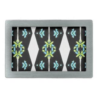 Cooles modernes Schwarz-weißes aquamarines Muster Rechteckige Gürtelschnalle