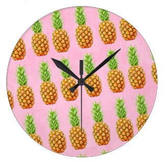 Cooles Muster der Ananas Große Wanduhr