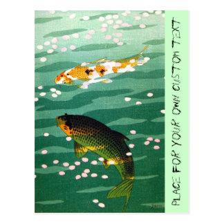 Cooles orientalisches glückliches koi fischt postkarte