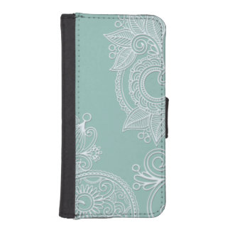 Cooles prägeartiges weißes und tadelloses Paisley iPhone SE/5/5s Geldbeutel