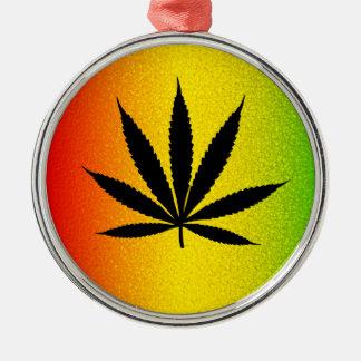 Cooles Rastafari Reggae Rasta Blatt jamaikanisches Silbernes Ornament
