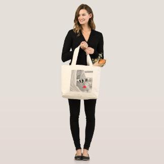 Cooles Retro riesiges Geschäft Damen-Face Graphic Jumbo Stoffbeutel