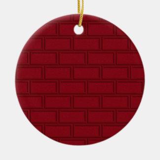 Cooles rotes Cartoon-Ziegelstein-Wand-Muster Keramik Ornament