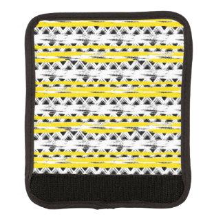 Cooles Schwarz-weißes Gelb Stripes Stammes- Muster Gepräckgriffwickel