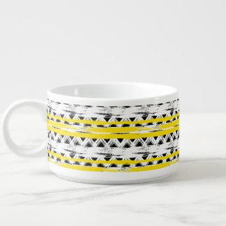 Cooles Schwarz-weißes Gelb Stripes Stammes- Muster Kleine Suppentasse