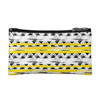 Cooles Schwarz-weißes Gelb Stripes Stammes- Muster Kosmetiktasche