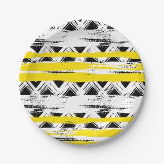 Cooles Schwarz-weißes Gelb Stripes Stammes- Muster Pappteller