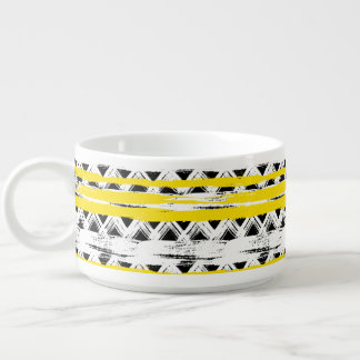 Cooles Schwarz-weißes Gelb Stripes Stammes- Muster Schüssel