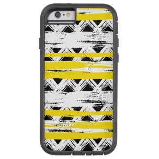 Cooles Schwarz-weißes Gelb Stripes Stammes- Muster Tough Xtreme iPhone 6 Hülle