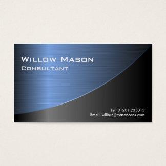 Cooles Schwarzes gebürstetes blaues Visitenkarte