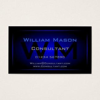Cooles schwarzes u. dunkelblaues Monogramm - Visitenkarte