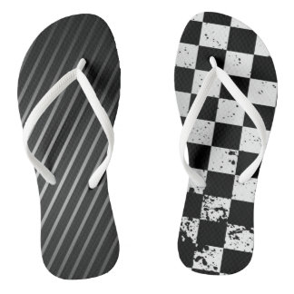 Cooles schwarzes u. weißes abstraktes flip flops