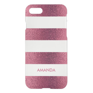 Cooles Shine GLITZER-ROSA weißer Streifen Ihr Name iPhone 8/7 Hülle