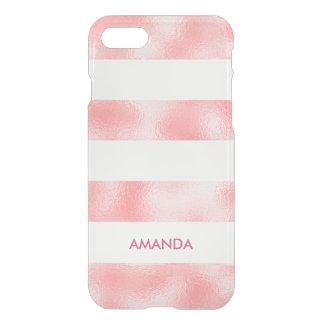 Cooles Shine ROSA weißer Streifen personalisiert iPhone 8/7 Hülle