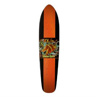 Cooles Skateboard Deck Orange-Schwarz mit Logo