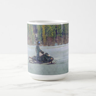 Cooles Snowmobiler auf Ice See-Winter-Sport-Thema Kaffeetasse
