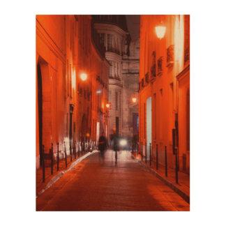 Cooles, städtisches, modernes Foto des Pariser Holzwanddeko