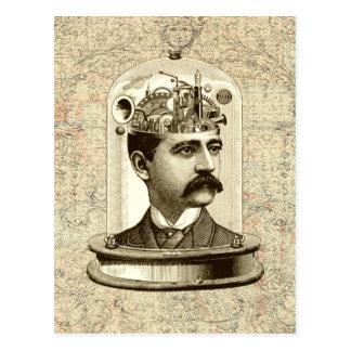 Cooles Steampunk Uhrwerkgehirn, Kopf in der Postkarte
