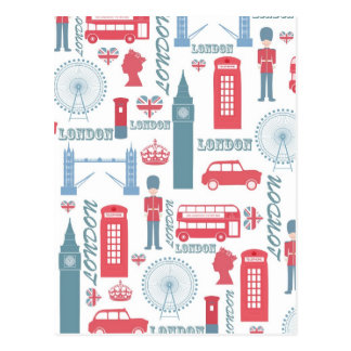 Cooles trendy Vintages London-Illustrationsmuster Postkarte