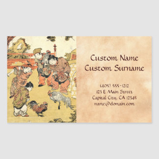 Cooles Vintages ukiyo-e japanische Kinder und Hahn Aufkleber