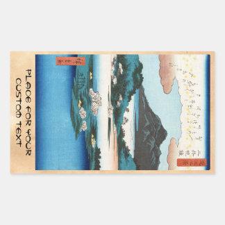 Cooles Vintages ukiyo-e japanischer waterscape Rechteckiger Aufkleber