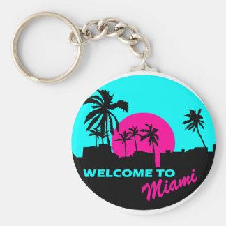 Cooles Willkommen zu Miami-Entwurf Standard Runder Schlüsselanhänger