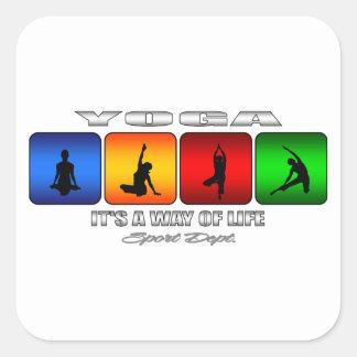 Cooles Yoga ist es eine Lebensart Quadratischer Aufkleber
