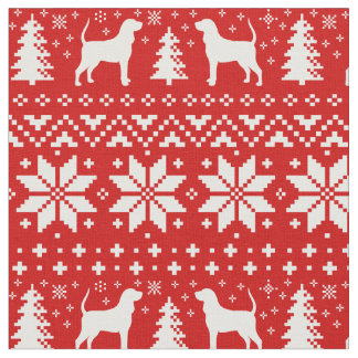Coonhound-Silhouette-Weihnachtsmuster-Rot Stoff