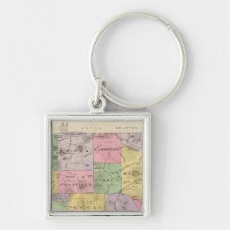 Coos County, NH Silberfarbener Quadratischer Schlüsselanhänger