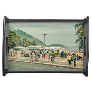 Copacabana Bürgersteig Rio de Janeiro Brasilien Serviertablett