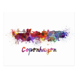 Copenhagen skyline im Watercolor Postkarte