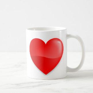 Coração vermelho brilhante kaffeetasse
