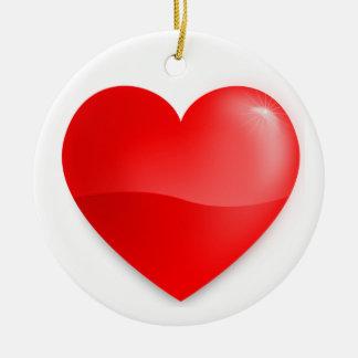 Coração vermelho brilhante keramik ornament