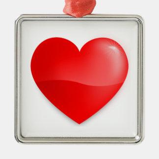 Coração vermelho brilhante silbernes ornament