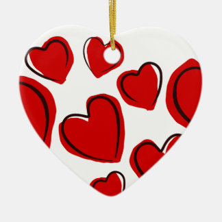Corações vermelhos keramik ornament