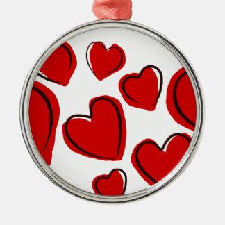 Corações vermelhos silbernes ornament