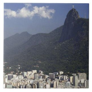 Corcovado, das Rio de Janeiro, Brasilien übersieht Große Quadratische Fliese