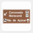 Corcovado/Maracana/Sugarloaf Mt, Brasilien Quadratischer Aufkleber