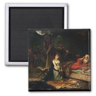 Cordelia und König Lear (Öl auf Leinwand) Quadratischer Magnet