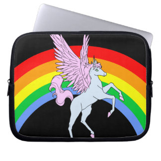 Corey Tiger-80er Unicorn-Regenbogen Laptop Sleeve