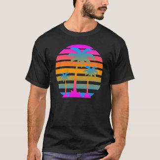 Corey Tiger-Retro Sonnenuntergang-Palmen T-Shirt