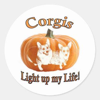 Corgi 2 leuchten meinem Leben Runde Sticker