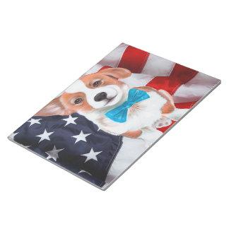 Corgi-amerikanische Flagge Notizblock