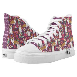 Corgi-Blumenhallo Spitzen - lila Hoch-geschnittene Sneaker